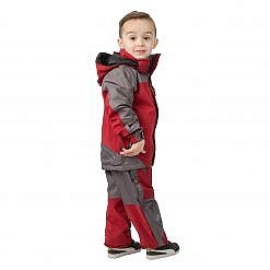 Kids Unisex Gorak Shep Outershell Jacket and Pants - Burgundy / Grey Model