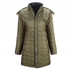 The Everest Women's Reversible Insulated Long Jacket Parka - Green / Black - Green Front