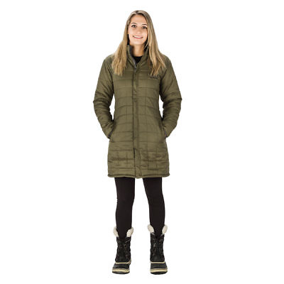 The Everest Women's Reversible Insulated Long Jacket Parka - Green / Black - Green Model Front