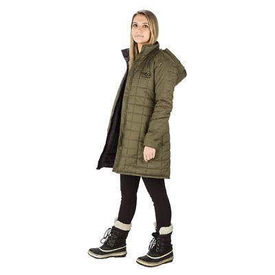 The Everest Women's Reversible Insulated Long Jacket Parka - Green / Black - Green Model SIde