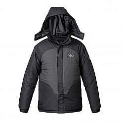 Treka Men's Third Pole Parka 500 - Black and Grey - Front View
