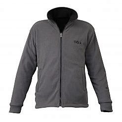 Men's Pokhara Reversible Black and Grey Fleece Jacket 200GSM - Grey Front View
