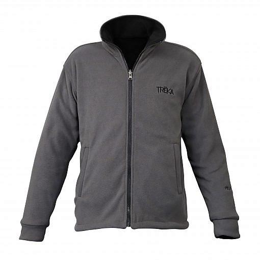 Men's Pokhara Reversible Black and Grey Fleece Jacket 200GSM - Grey Front View