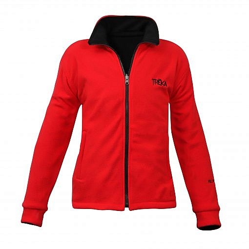 Men's Pokhara Reversible Black and Red Fleece Jacket 200GSM - Red Front View