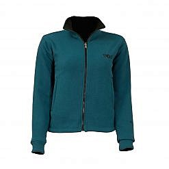 Women's Pokhara Reversible Black and Aqua Fleece Jacket 200GSM - Front View