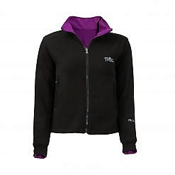 Women's Pokhara Reversible Black and Purple Fleece Jacket 200GSM - Black Front View