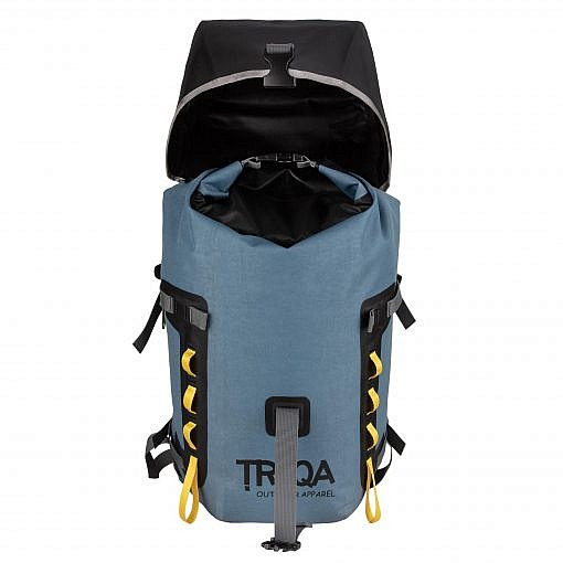 Treqa Waterproof Backpack Treqa W40L - Slate Blue - Front View Open