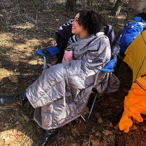 Photo of Woman in Camp Chair with Camp Blanket